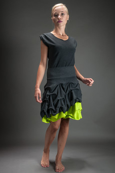 Hultaj Polski - Spódnica podwójnie spieniona limonkowa mini damska