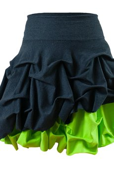 - Spódnica podwójnie spieniona limonkowa mini damska