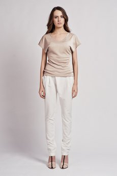 Lanti - T-shirt with wide sleeves - mocca - BLU 101