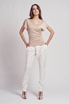 - T-shirt with wide sleeves - mocca - BLU 101