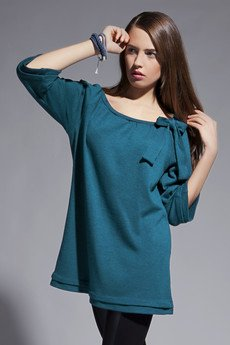 Lanti - Blouse with bow - blue - BLU 011