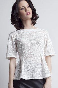 Lanti - Elegancka koronkowa bluzka BLU 120 biała