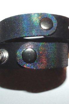 Mikashka - Bransoletka skórzana opalizująca czarna