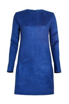 - Chabrowa sukienka ze sztucznej zamszowej skóry
