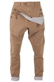 - spodnie madoxy brązowe z podszewką w paski