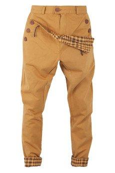 MADOX design - spodnie madoxy musztardowe z kratą musztardową