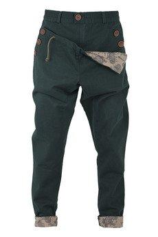 - spodnie madoxy zielone z podszewką w beżowy wzór