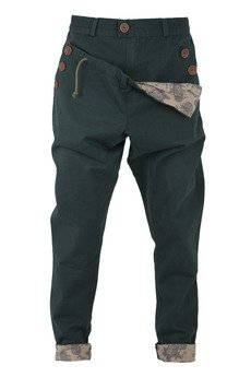 MADOX design - spodnie madoxy zielone z podszewką w beżowy wzór