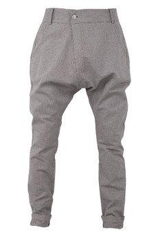 MADOX design - spodnie niski krok drobna brązowa kratka