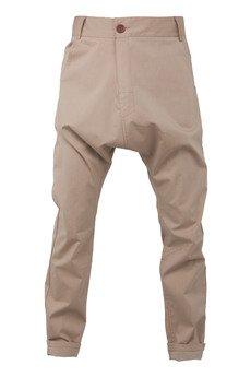 - spodnie niski krok drobna beżowa kratka