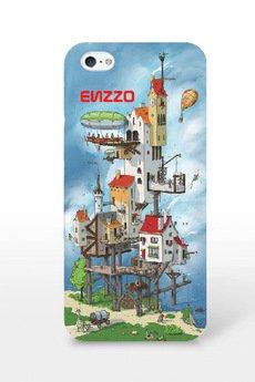 ENZZO - Etui do iPhone5/5s houses+folia+chusta z mikrofibry