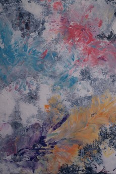 "Strefa koloru - Kasia Puchowska - Obraz abstrakcyjny ""Orchidea"", 50x70 cm."