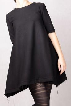 Non Tess - czarna strzepiaca sukienka undone wełniana