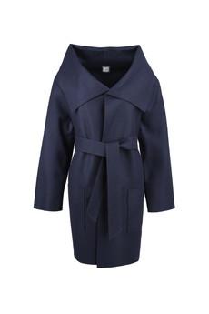 - Wełniany płaszcz w kolorze granatowym