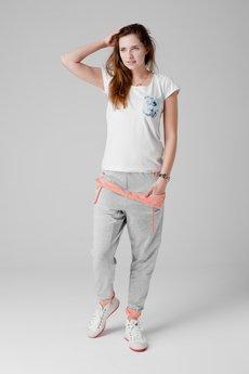 - spodnie madoxy dresowe szaro - łososiowe