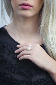 Selfie Jewellery - Pierścionek z dwiema perłami
