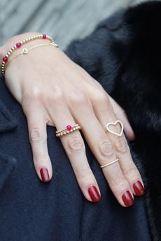 Selfie Jewellery - Bransoletka z serduszkami złocona