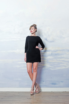 RISK made in warsaw - sukienka kokatilowa MAŁA CZARNA