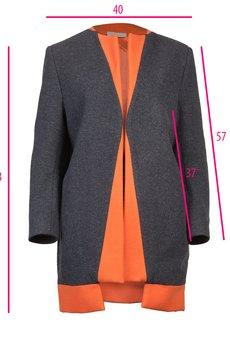 DIAMOND DUST - Szaro - pomarańczowy płaszcz z wełny