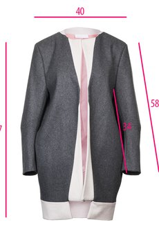 DIAMOND DUST - Szaro - pudrowo różowy płaszcz z kaszmiru