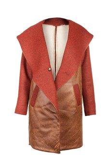 DIAMOND DUST - Miedziany płaszcz ze skóry ekologicznej