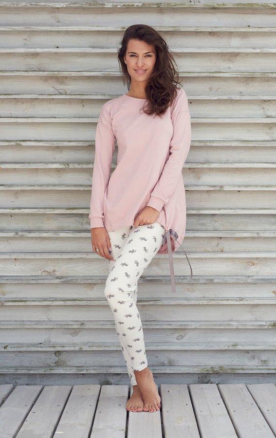 Piżama Grey Ribbon Elegancki Oversize Różowy | Sleepless
