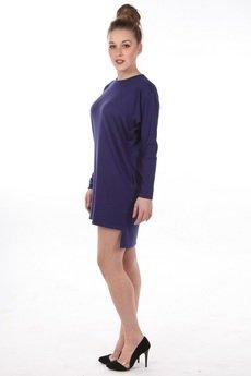 SYLWIA SNOCH - Sukienka pudełkowa z kieszeniami szafir