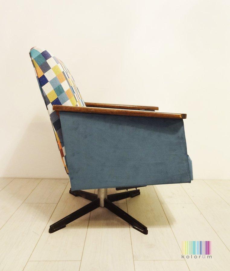 Kultowy Fotel Obrotowy Z Prl U Niebieski Kolorum Meble
