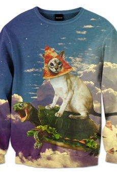 Pizza cat sweatshirt brainwash