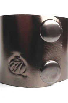 Mikashka - Bransoleta skórzana srebrna z połyskiem