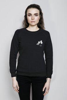 Bluza czarna reglan modelka zwierzeta rudzik maly