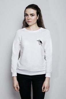 Bluza bia%c5%82a reglan modelka zwierzeta zimorodek maly