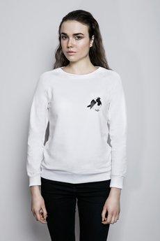 Bluza bia%c5%82a reglan modelka zwierzeta rudzik maly
