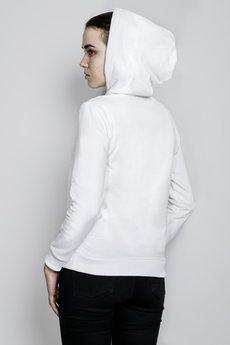 Bluza z kapturem biala modelka tyl