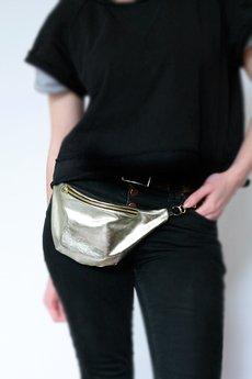 ANACOMITO ? - Full-Metal Silver-Gold - nerka na skórzanym paseczku