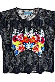 MissSpark - Bluzka FLOWERS czarna koronka
