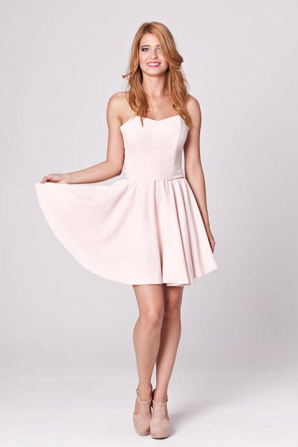 0a84887bdf Pudrowa Gorsetowa Sukienka - Różowy