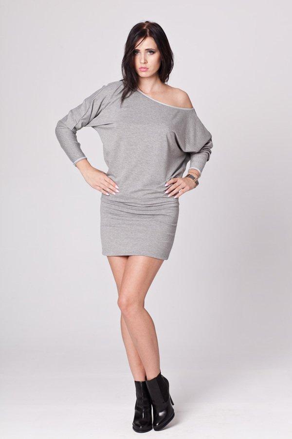 349bd63983 Dzianinowa Sukienka Oversize - Szary