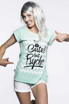 ŁAP NAS - Koszulka miętowa Cute but Psycho