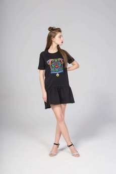 KOZACKI MOPS - Sukienka Haftowana