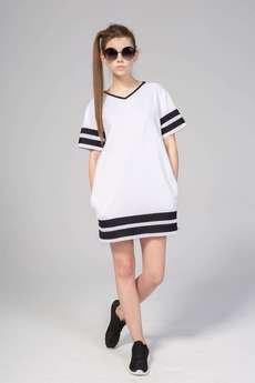 KOZACKI MOPS - Sukienka T-Dress biała