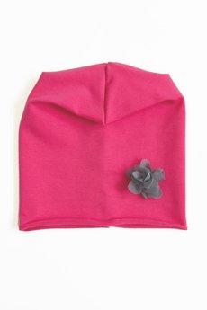 LIMONKA - Czapka różowa z kwiatkiem z tiulu