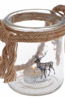 MIA home passion - Lampion szklany z reniferem mniejszy