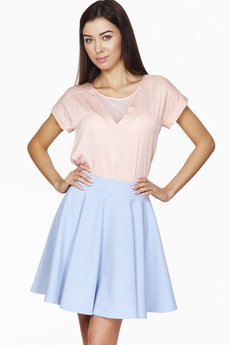 ABG - Błękitna, rozkloszowana spódnica z pasem