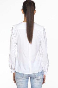 ABG - Biała bluzka z kontrastowymi lamówkami