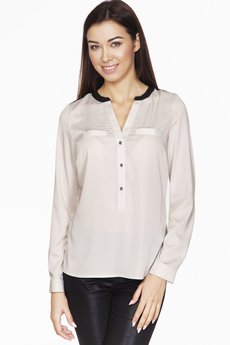 ABG - Beżowa bluzka z imitacją kieszeni