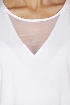ABG - Biała bluzka z tiulowym dekoltem