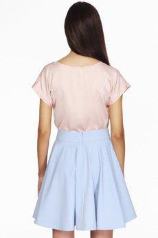 ABG - Różowa bluzka z tiulowym dekoltem