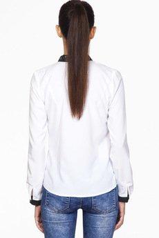 ABG - Biała koszula z plisą i zdobionym kołnierzem