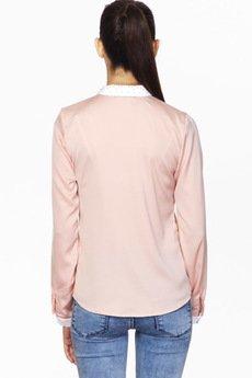 ABG - Różowa koszula z plisą i zdobionym kołnierzem